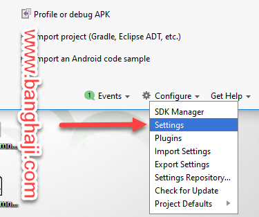 Cofigure Settings Android Studio