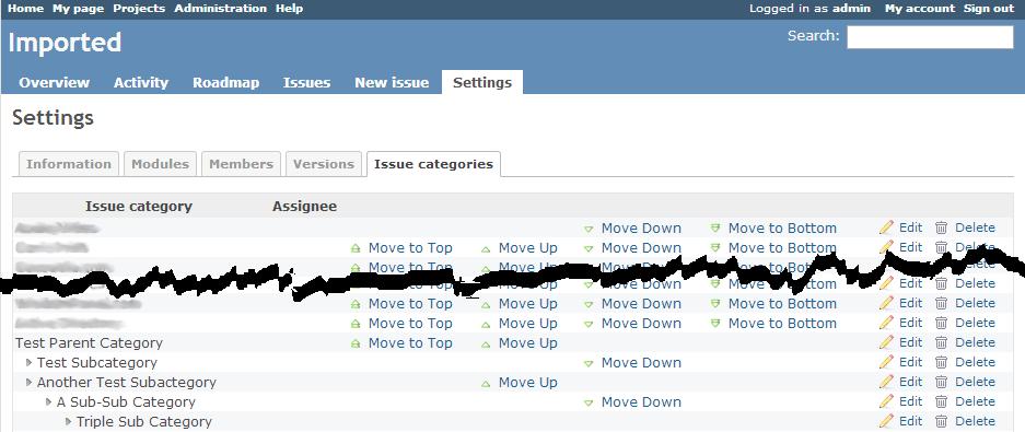 Category list screenshot