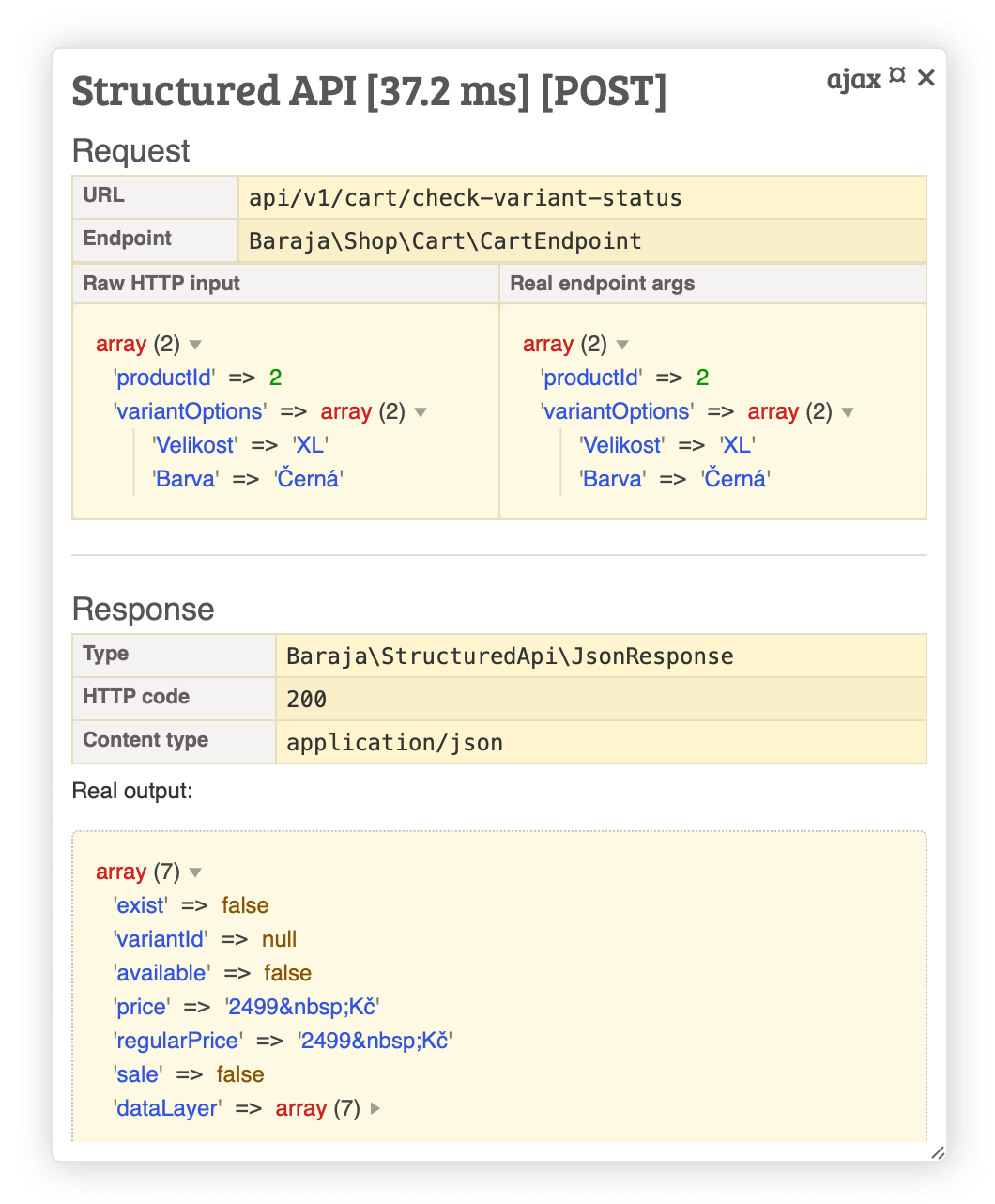 Baraja Structured API debug Tracy panel