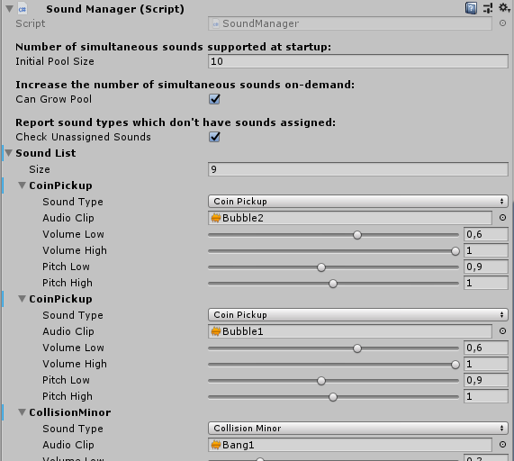 SoundManager pane in Inspector