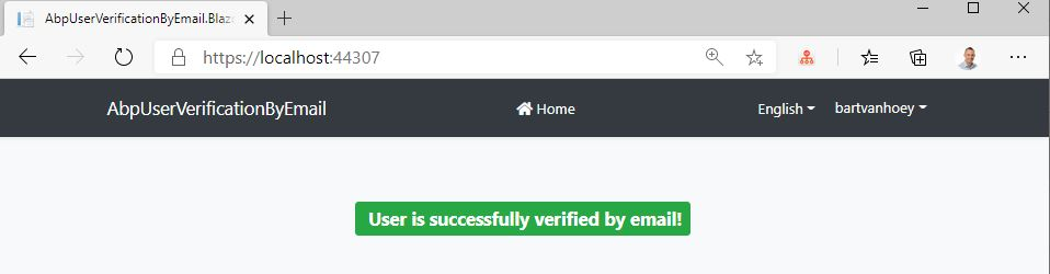 User verified by email