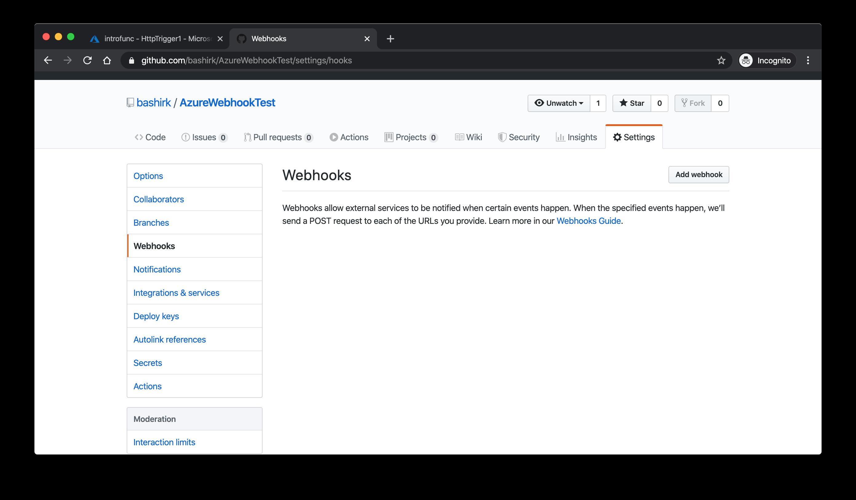 Create a Webhook