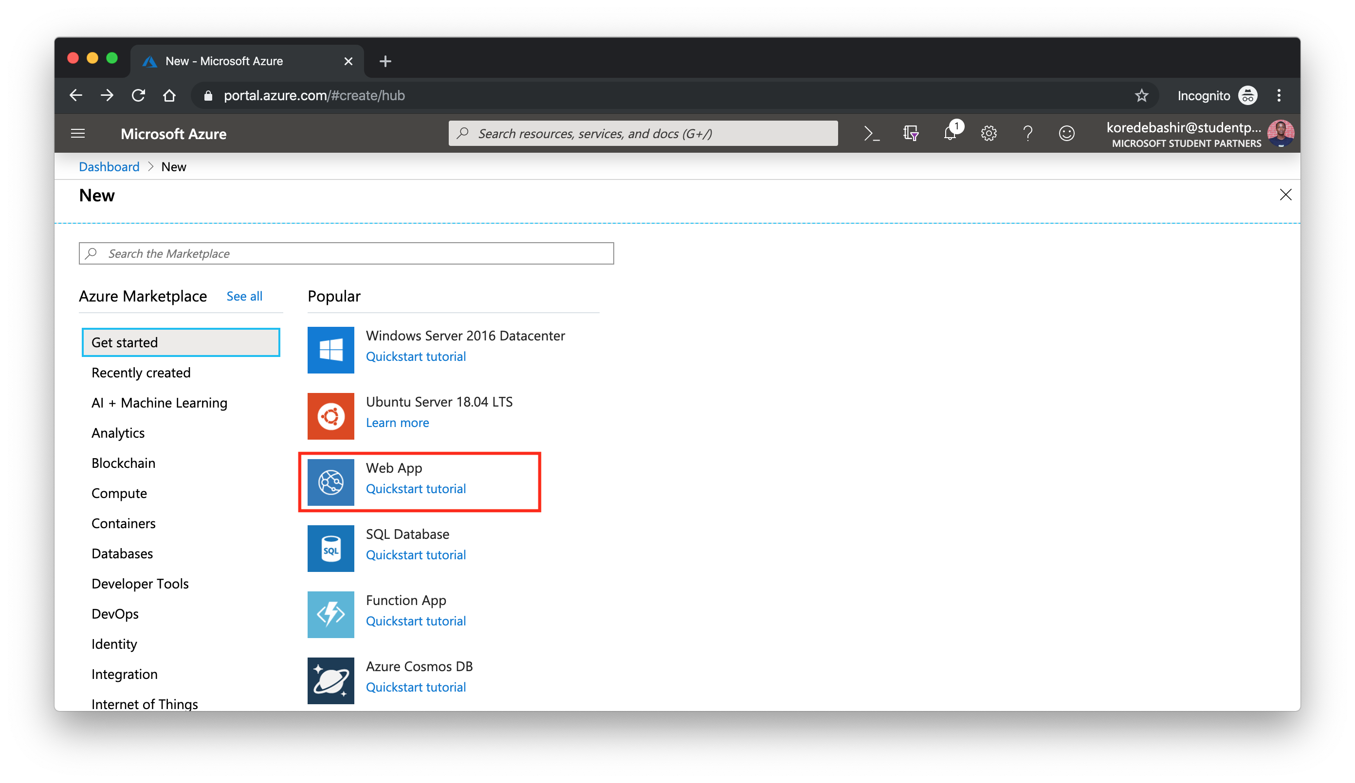 """Click on """"Web App"""" to get the Web App Service from the Azure Marketplace to your new resource"""
