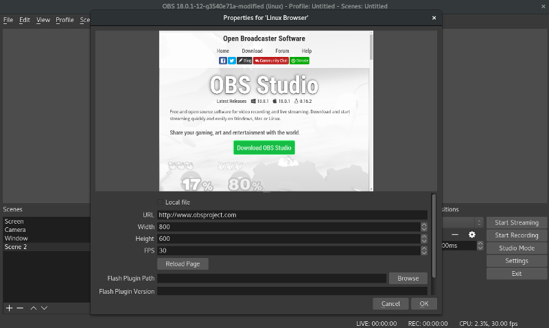 Linux Browser OBS