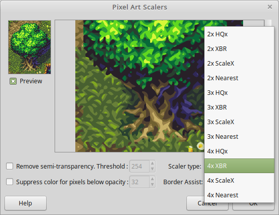 GIMP Image Editor using Pixel Art Scalers Plugin