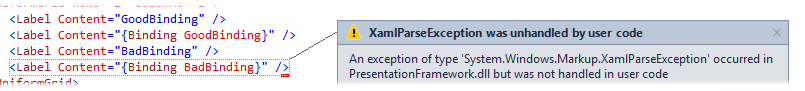 Exception displayed in Visual Studio's XAML editor
