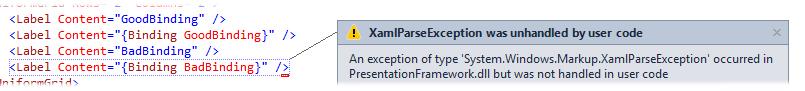 Exception shown in Visual Studio