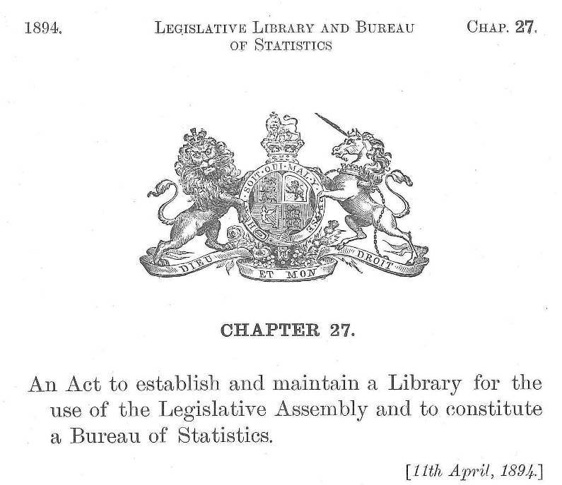 BC Legislative Library & Statistics Bureau Act, 1894