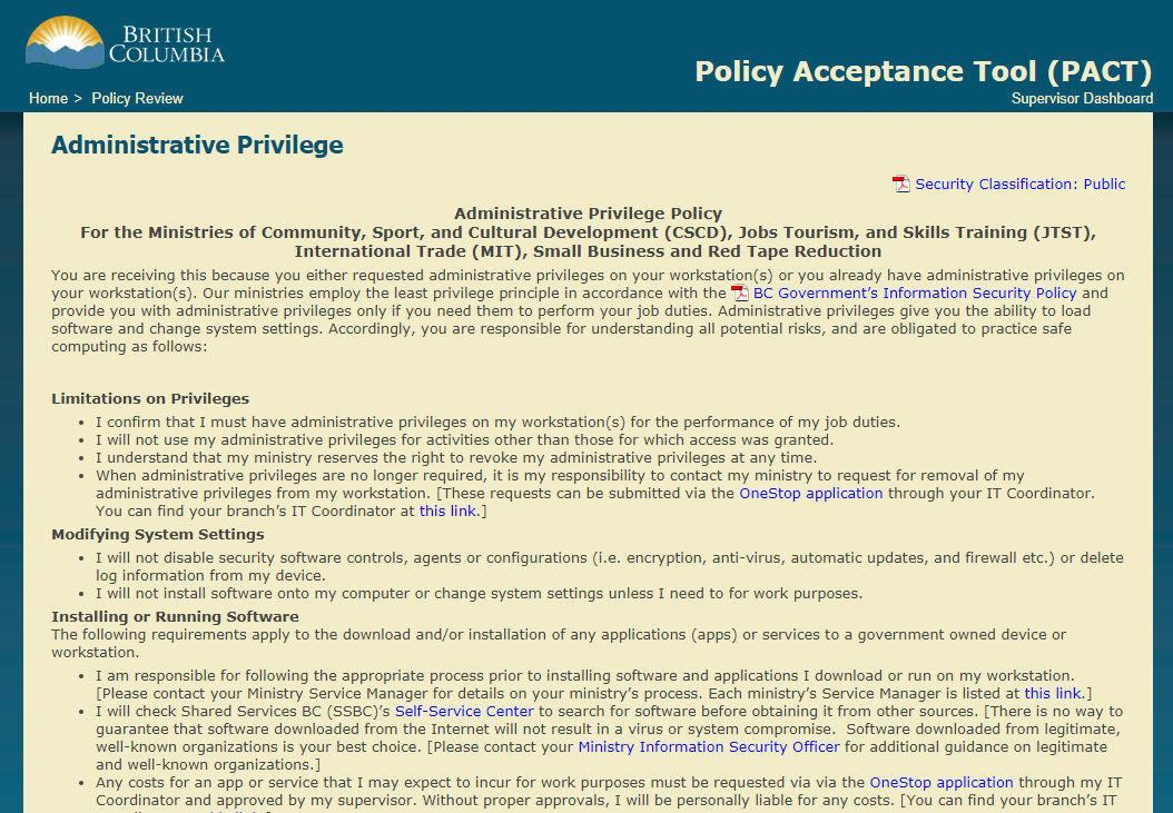 admin privilege policy