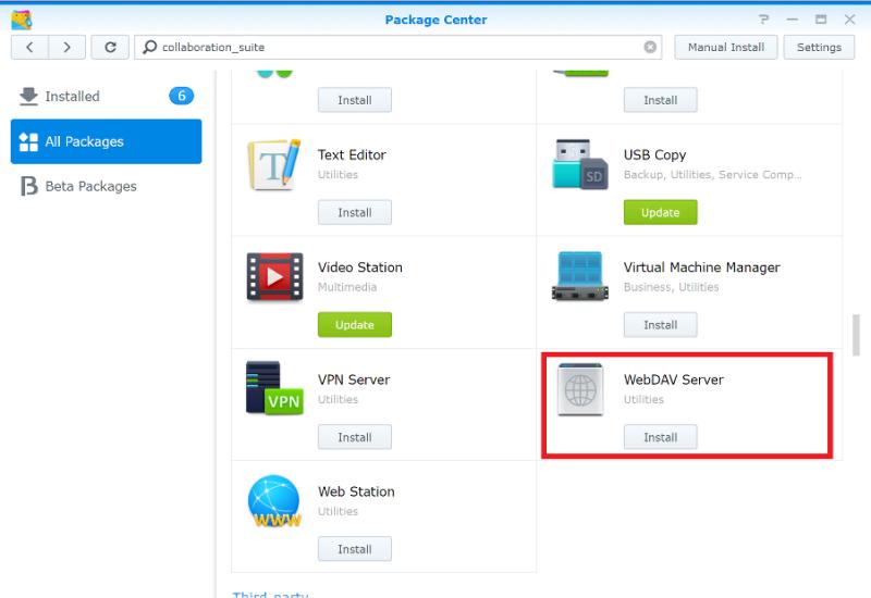Install WebDAV
