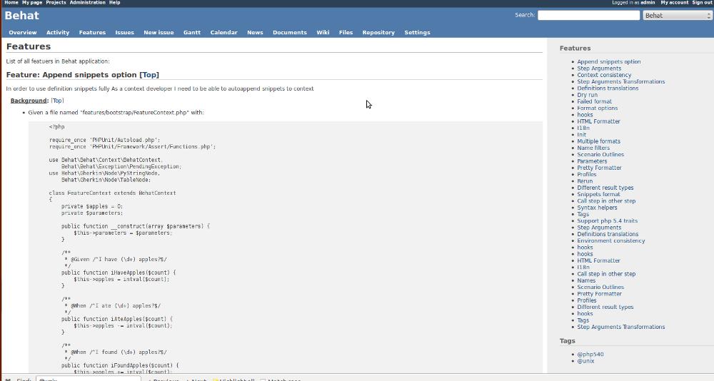 Behat Example Screen