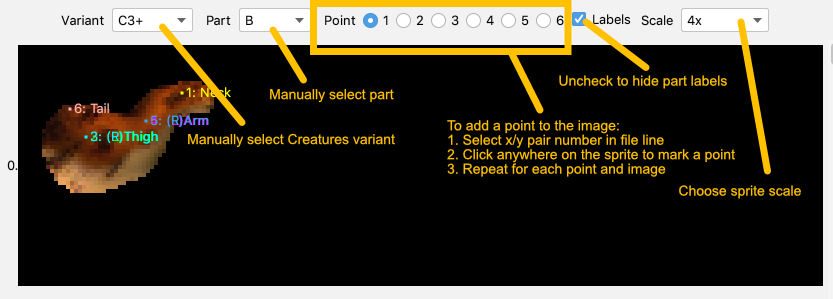Screenshot of an ATT editor with arrows and text describing the layout of the editor controls
