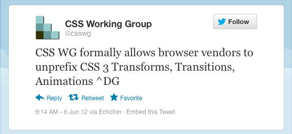 CSS WG 允许浏览器供应商使用无前缀属性