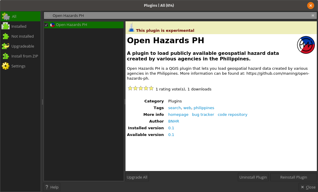 Install Open Hazards PH in QGIS