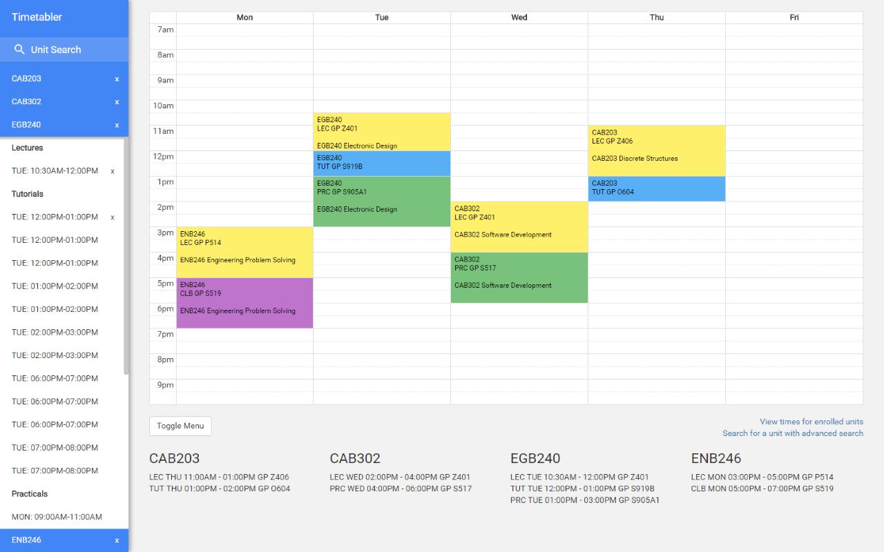 Calendar Qut : Github benmag timetable plan your perfect