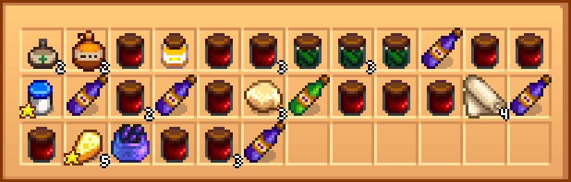 A chest with artisan products after sorting by the in-game button