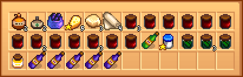 A chest with artisan products after sorting by the mod