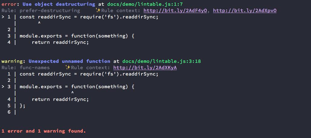 codeframe output