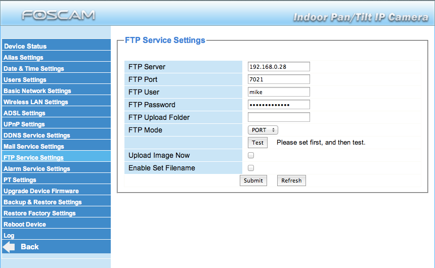 Foscam ftp settings