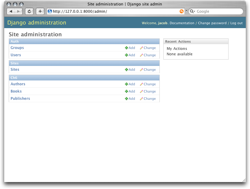 Screenshot of the Django admin home page.