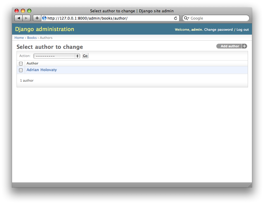 Screenshot of the author change list page.