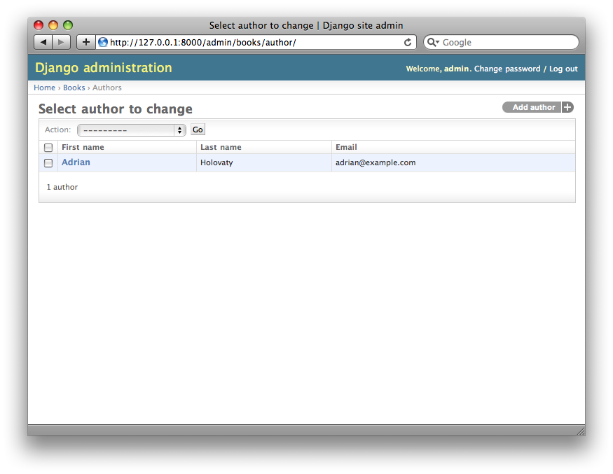Screenshot of the author change list page after list_display.