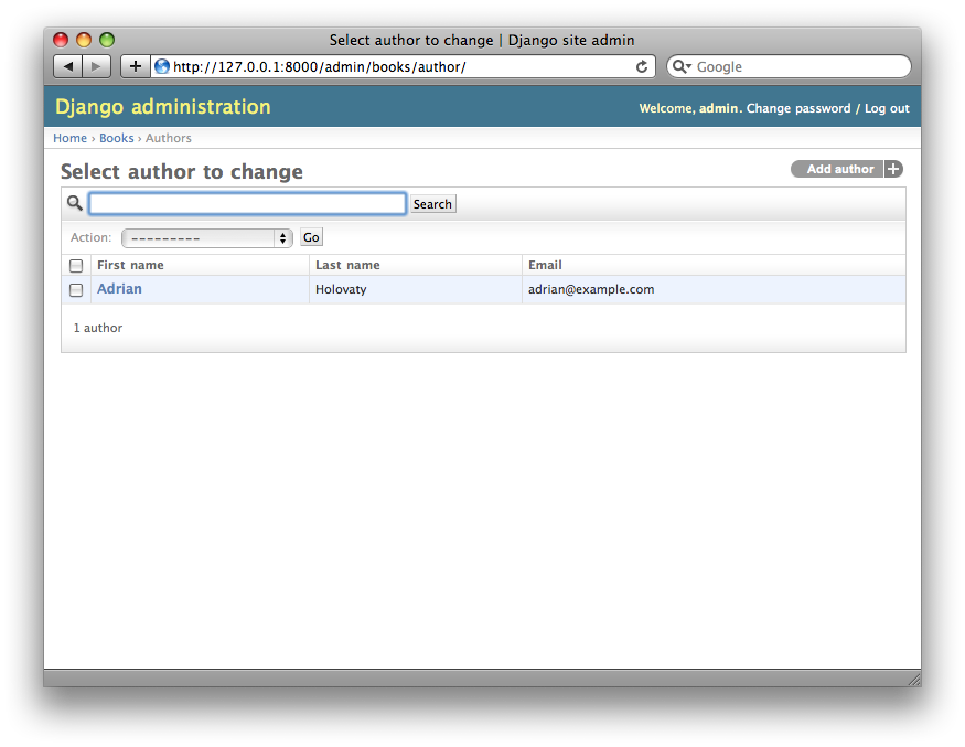 Screenshot of the author change list page after search_fields.