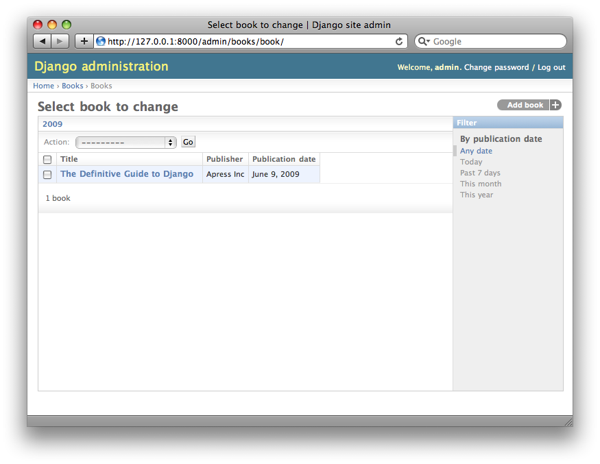 Screenshot of the book change list page after date_hierarchy.