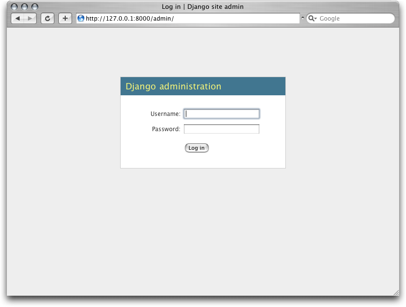 Screenshot of Django's login page.