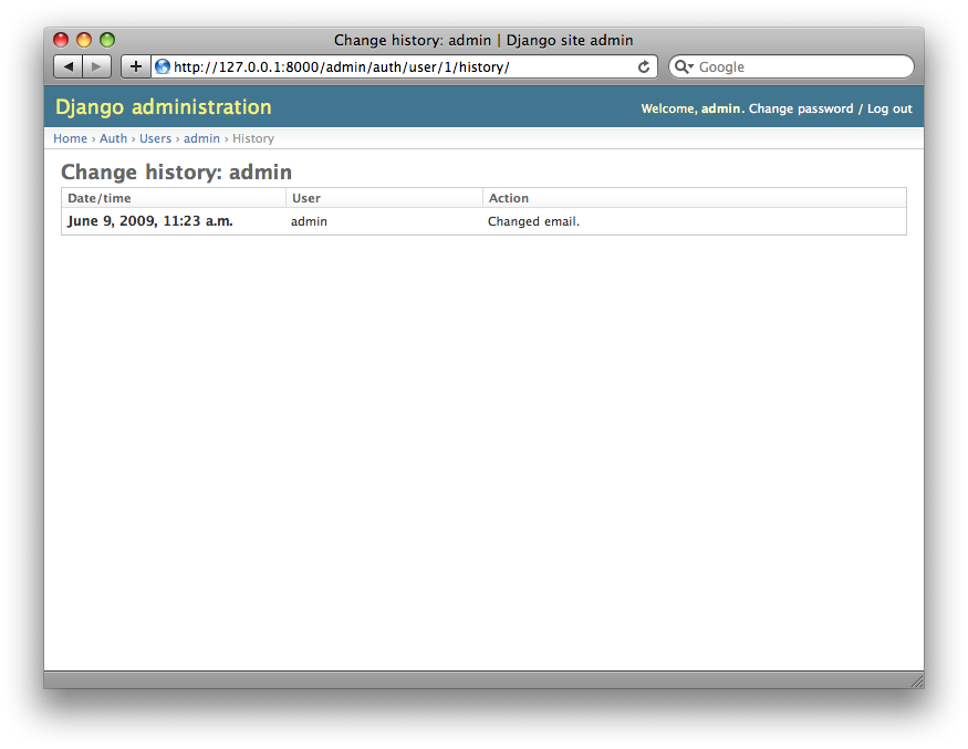 Screenshot of an object history page.