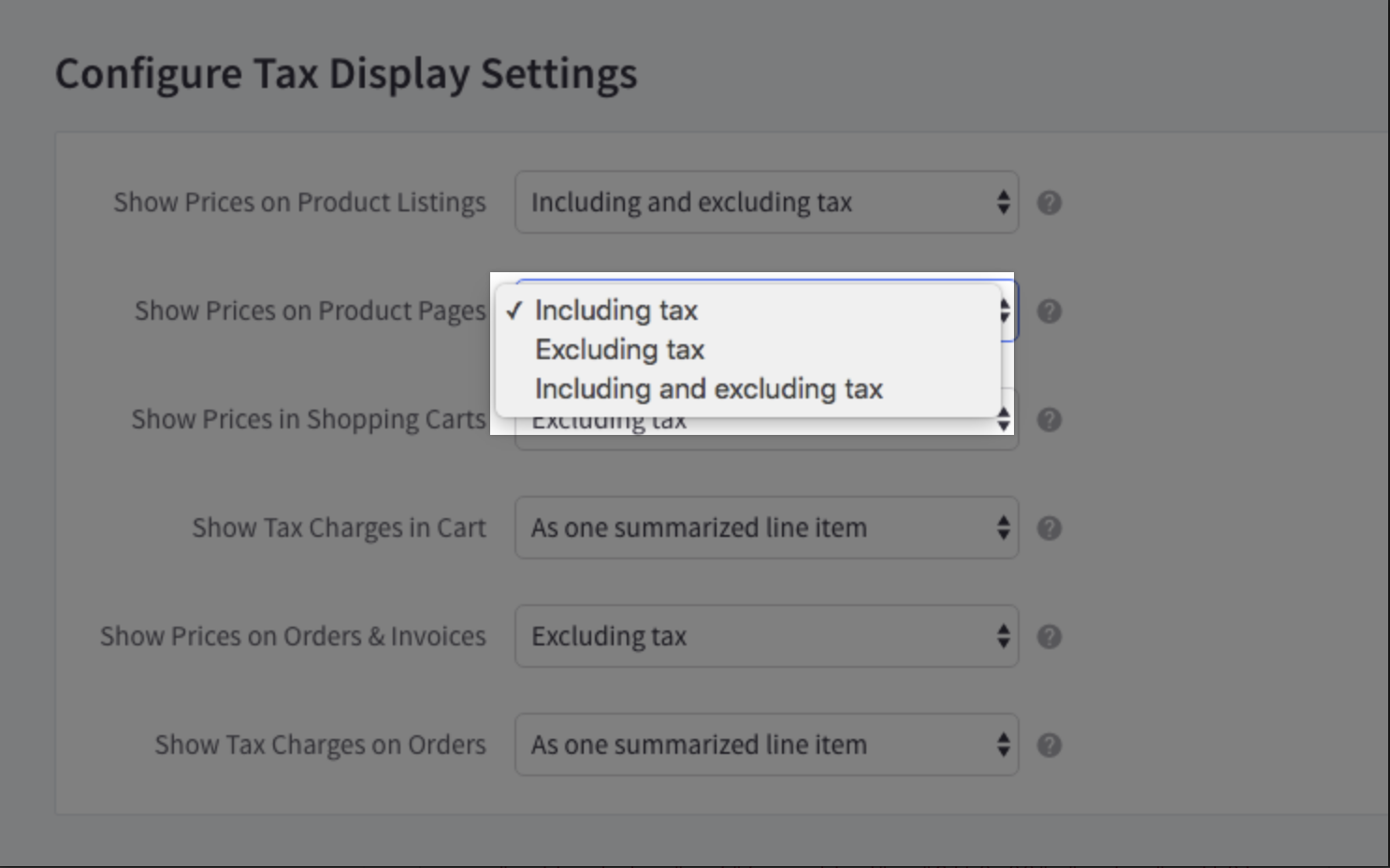#### Configure Tax Display Settings