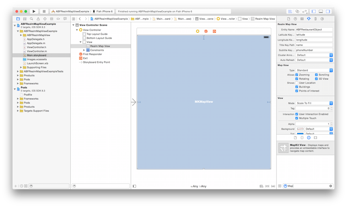 Add MKMapView to storyboard