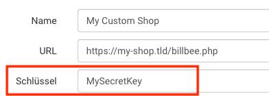 Angaben für die API Verbindung