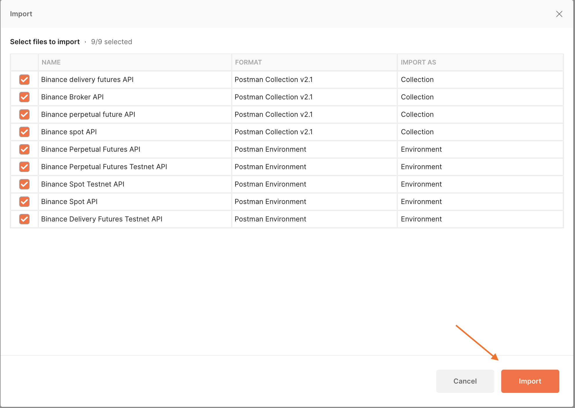 Screenshot of of Postman for Mac, showing the Import screen after selecting the folder.