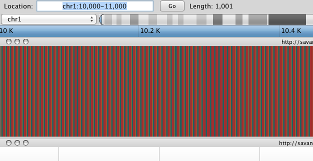 Navigition using Location text field. Sequence track displayed as sequence of colours