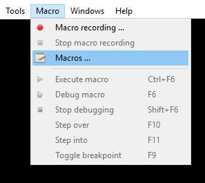 """Select """"Macro > Macros ..."""""""