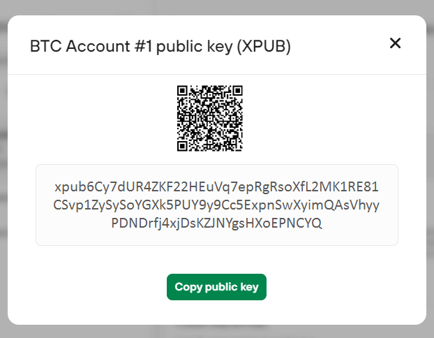 图5-12从Trezor硬件钱包导出xpub