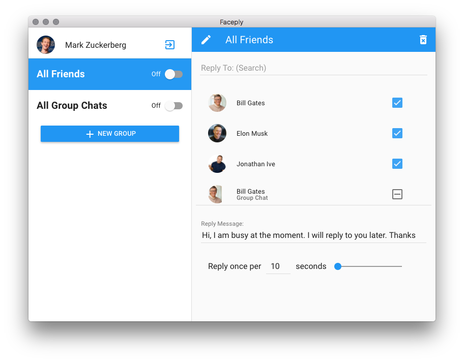 Faceply.io - Auto Responder for Facebook Personal Messages