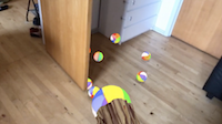 Throwing beachballs, that bounces of the walls and are occluded by other walls
