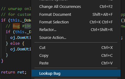 Context menu item for Lookup Bug