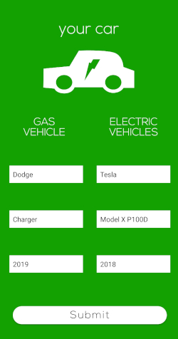 Car Selection Screenshot from app