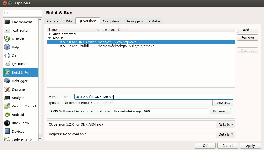 Setting up Qt Creator for QNX Neutrino OS - Qt Wiki