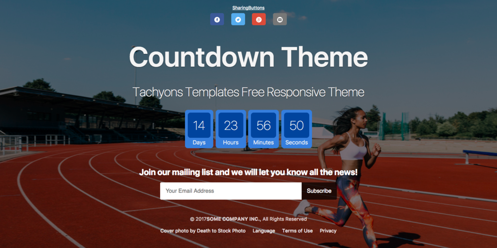 Tachyons countdown single page theme - launch