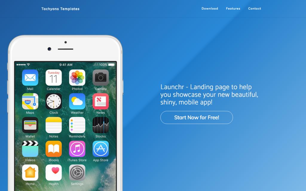 Tachyons Launchr Landing Page