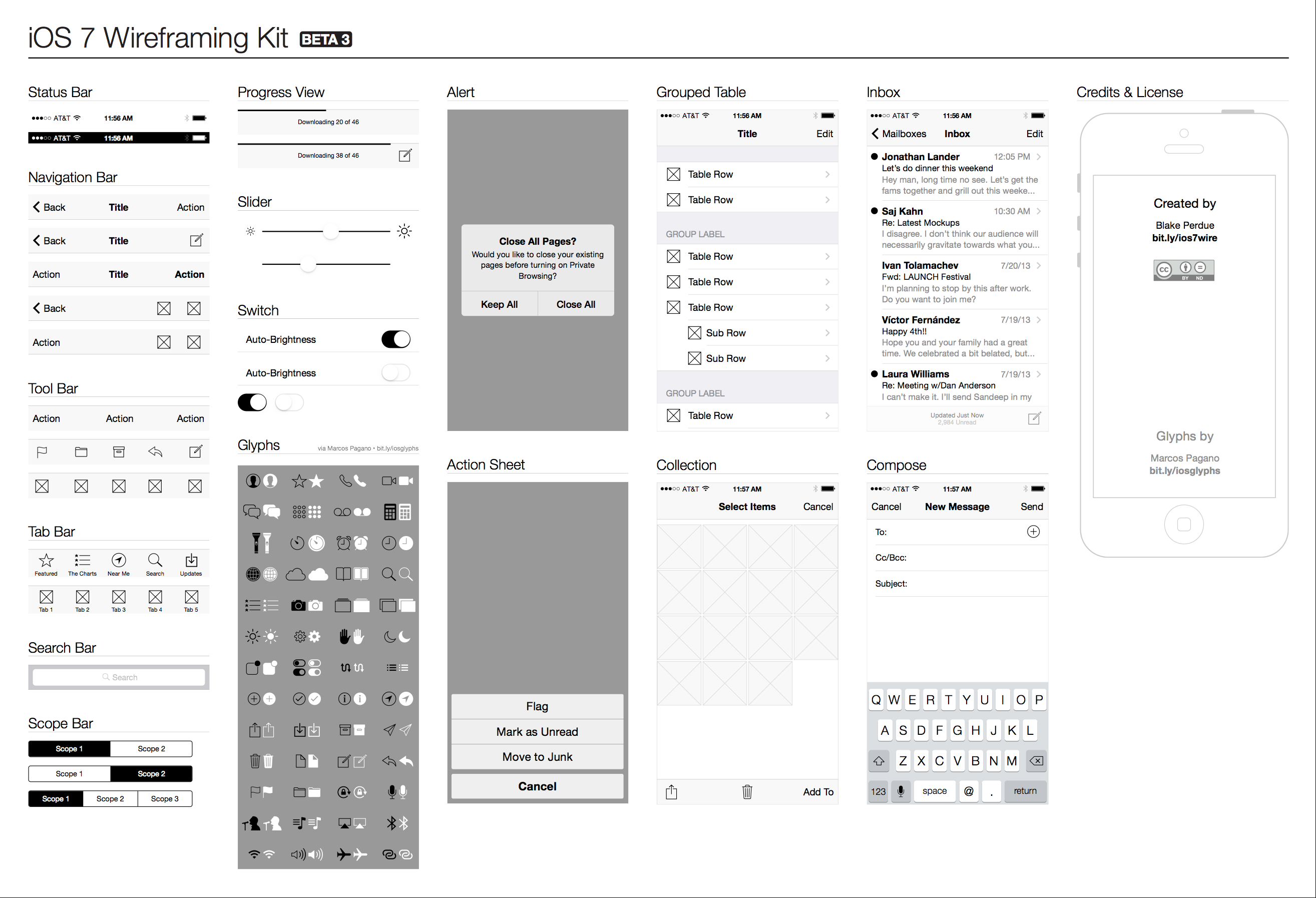 iOS 7 Wireframe Kit Preview