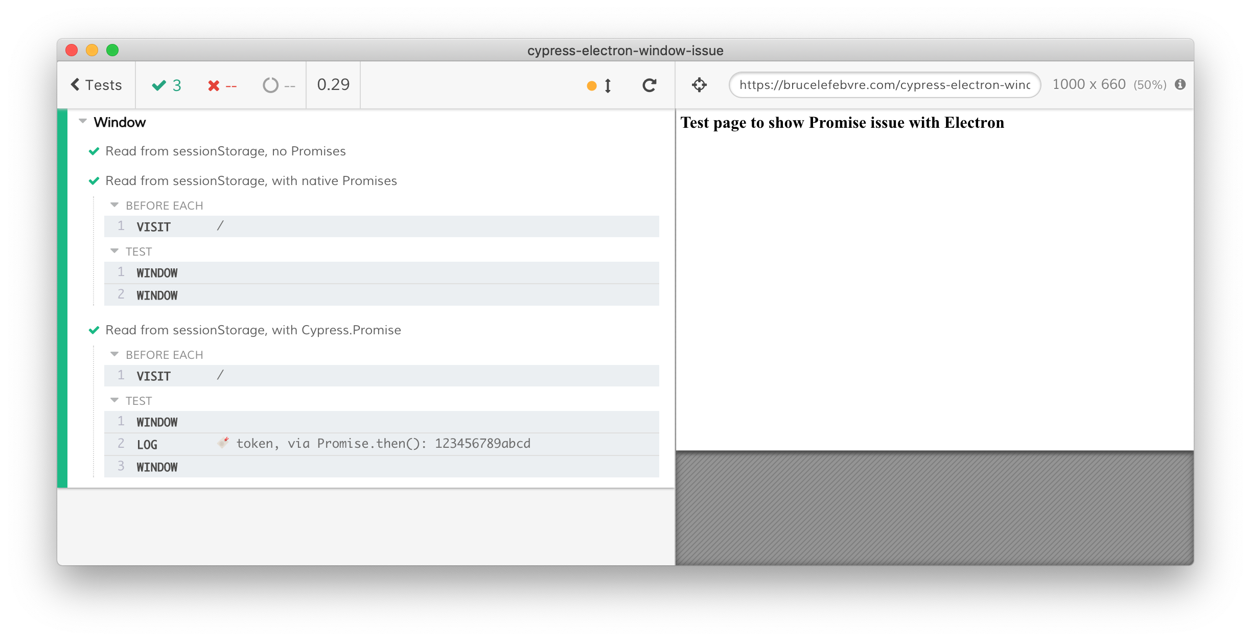 Electron browser window showing all tests passing, with log statements missing