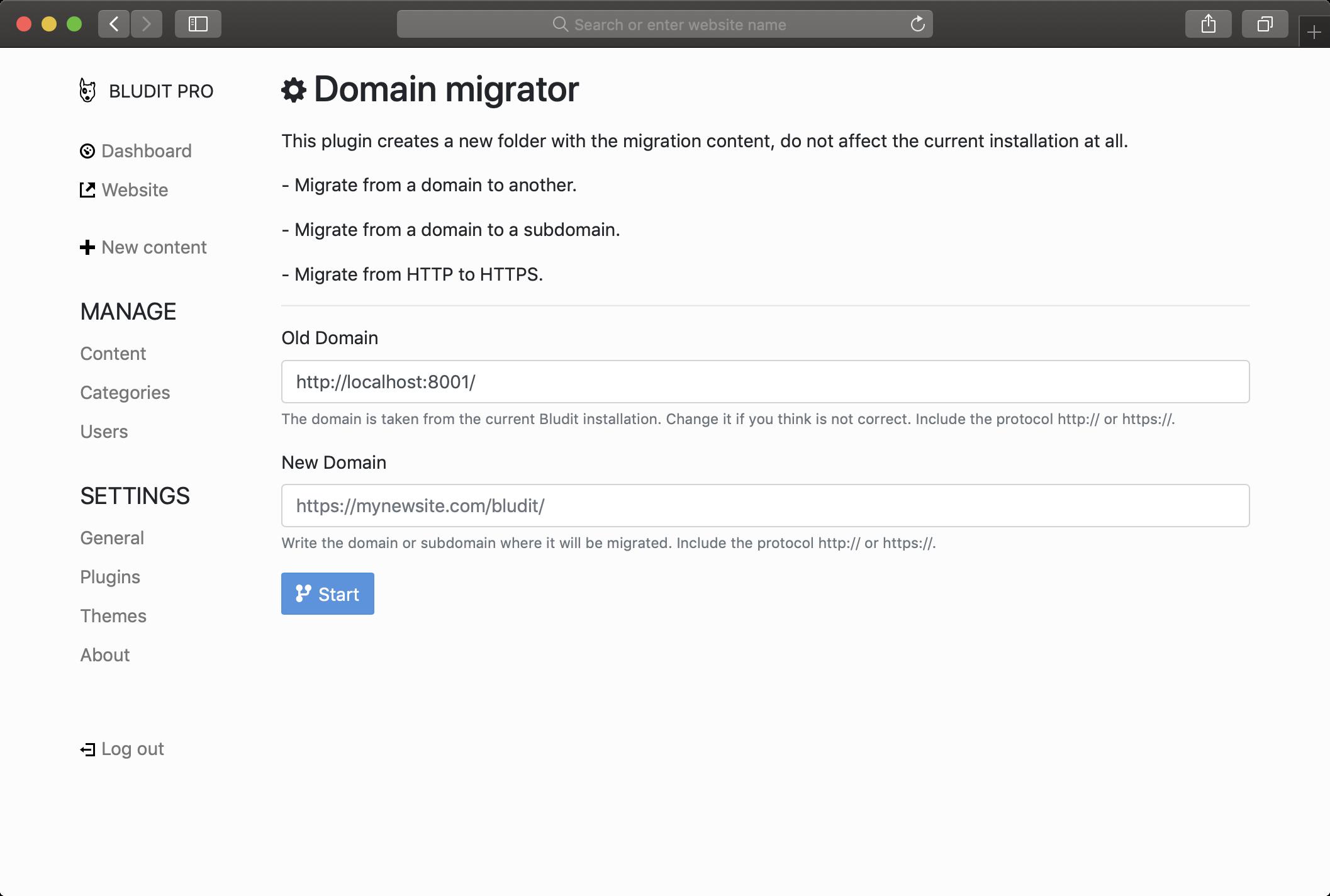 Domain migrator plugin