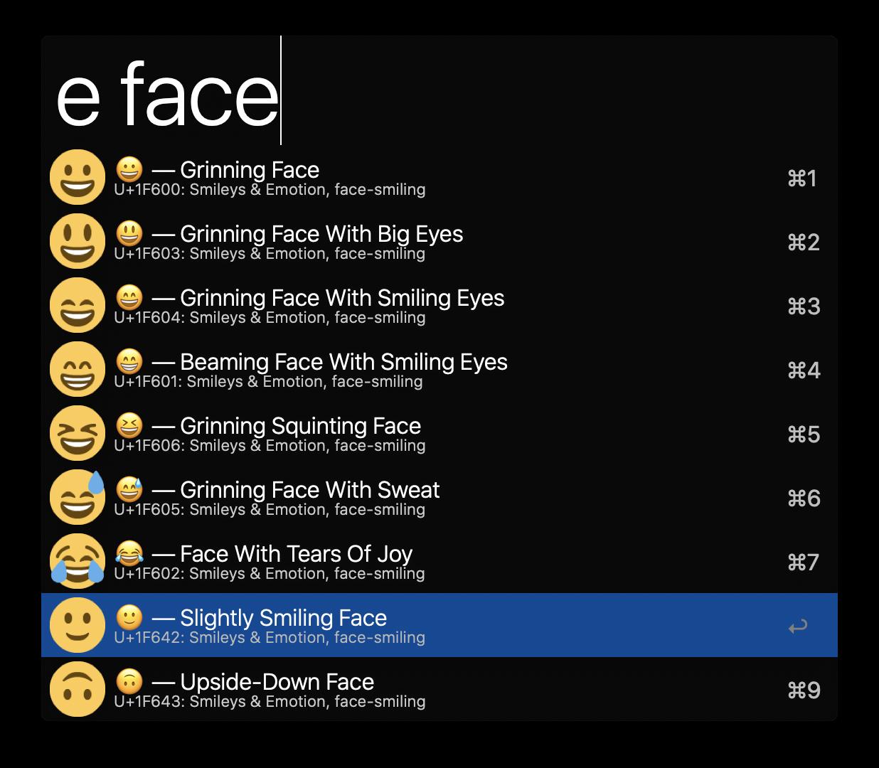 Screenshot for command e face
