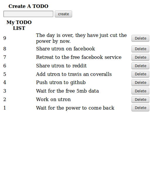 todo app with utron
