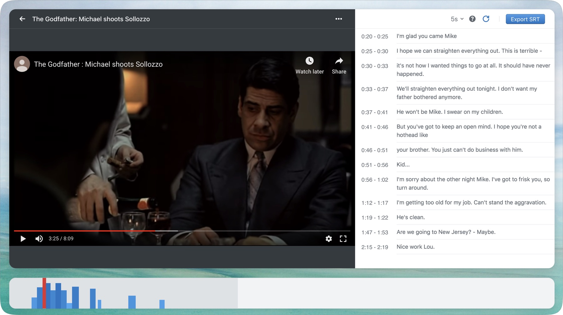 Captioner screenshot showing a user adding subtitles to the Godfather movie.